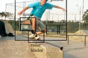 Bounding Boxes, Objekt Detektion. Skateboarder mit Boxen